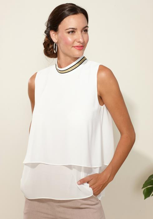 Pleione Layered Mock Neck Sleeveless Chiffon Blouse
