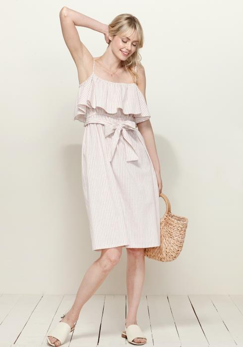 Pleione Ruffle Empire Tie Waist Sun Dress