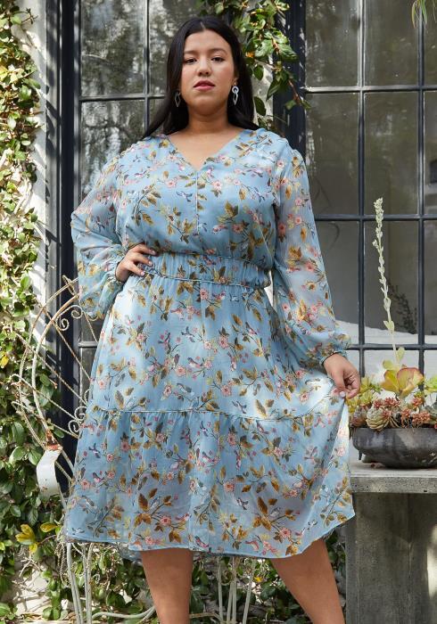 Pleione Plus Smocked Waist Floral Midi Dress