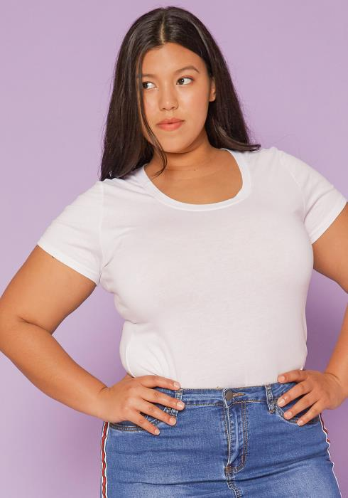 Asoph Plus Size Basic Round Neck Tee