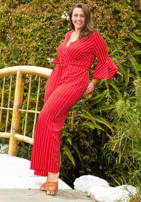 Asoph Plus Size Stripe Petal Sleeves Jumpsuit