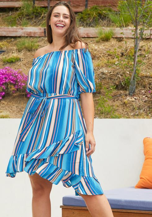 Asoph Plus Size Stripe Ruffle Dresses