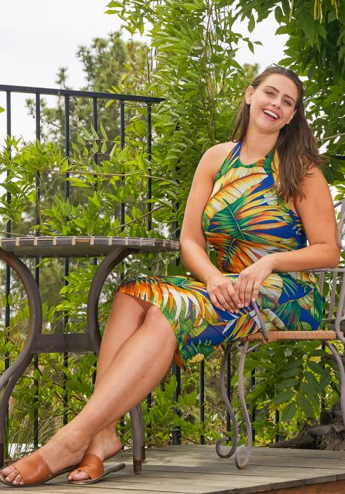 Asoph Plus Size Haltered Tropical Bodycon Dresses