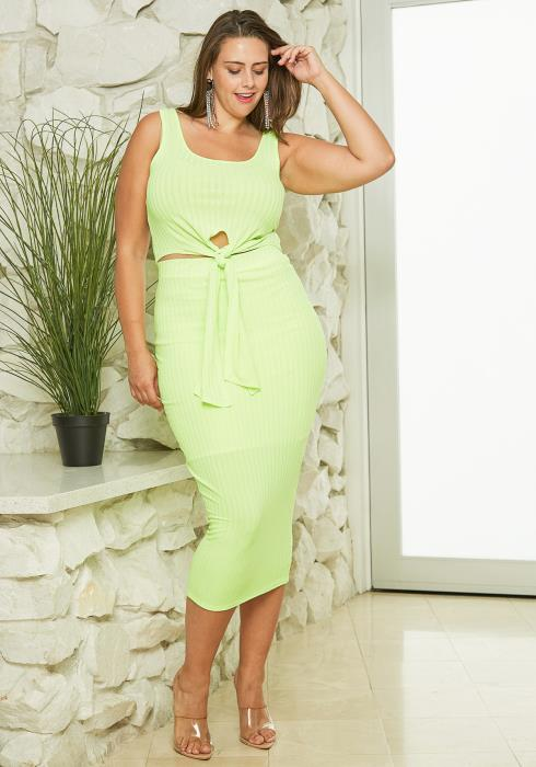 Asoph Plus Size Crop Top & Pencil Skirt Set