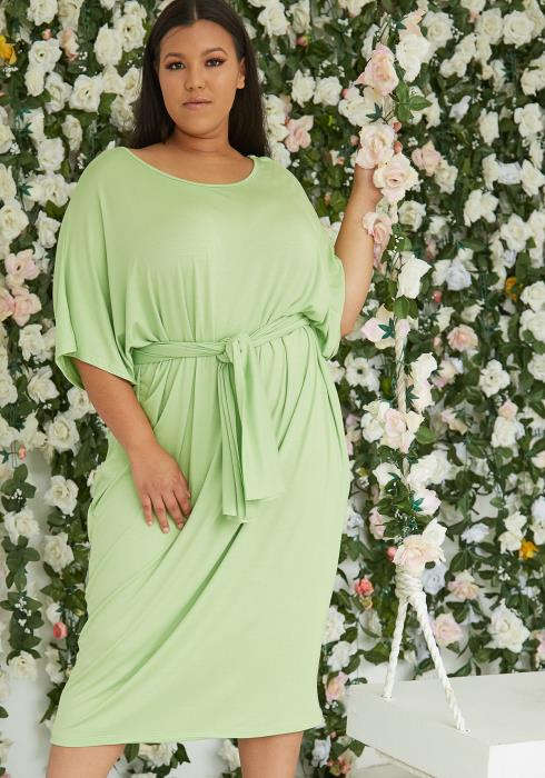 Asoph Plus Size Basic Dolman T-Shirt Midi Dress