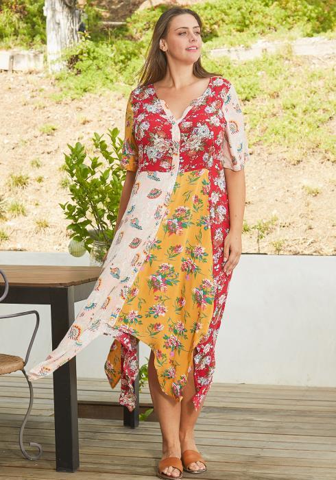 Asoph Plus Size Print Block Asymmetric Dresses