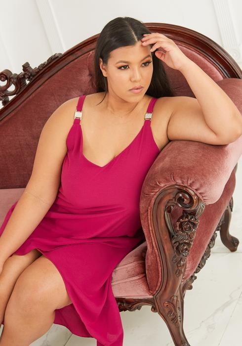Asoph Plus Size Sleeveless Wrap Party Dress
