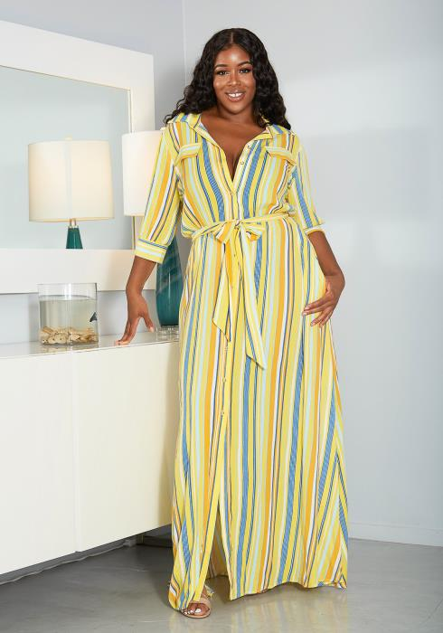 Asoph Plus Size Stripe Print Maxi Dress
