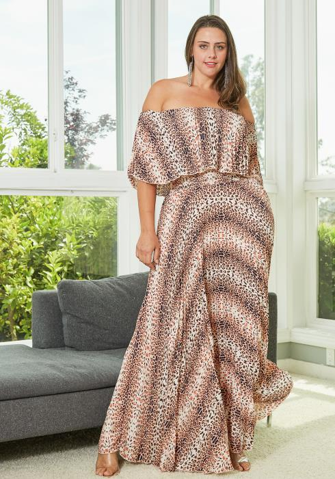 Asoph Plus Size Leopard Print Pleated Maxi Dress