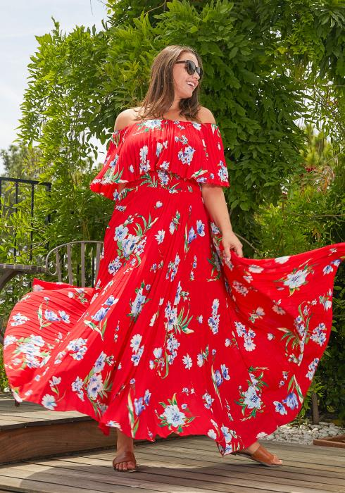 Asoph Plus Size Floral Print Pleated Maxi Dress