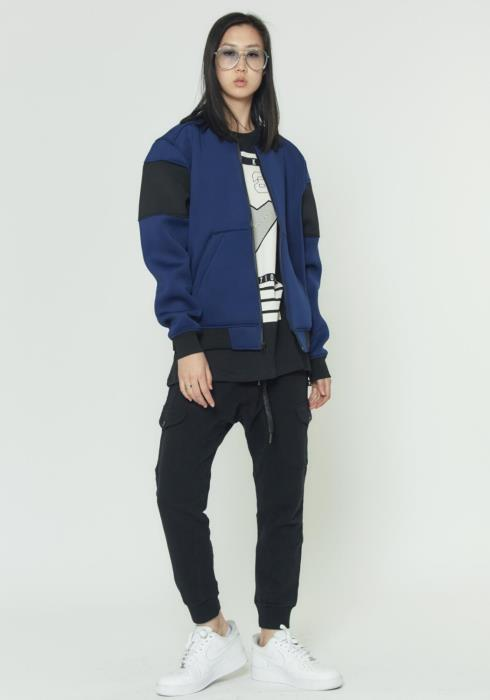 Mens Bomber Jacket in Scuba Fabric with Color Blocking on Sleeves