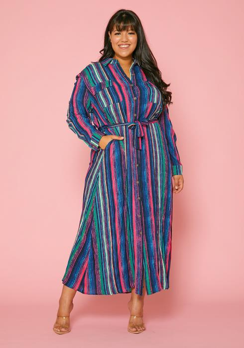 Asoph Plus Size Multi Color Stripe Maxi Shirt Dress