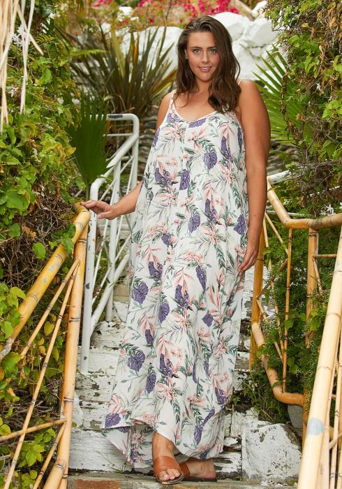 Asoph Plus Size Floral Tunic Maxi Dress