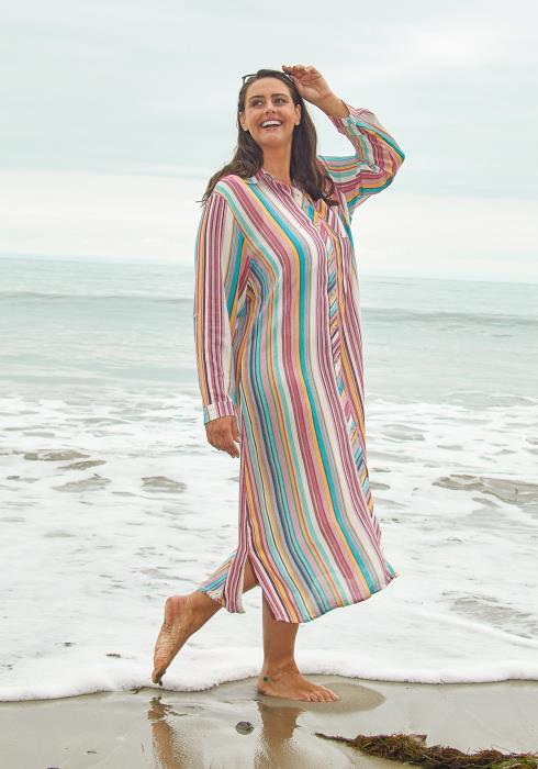 Asoph Plus Size Stripe Shirt Midi Dress