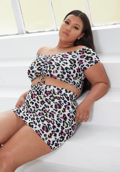 Asoph Plus Size Multi Color Leopard Print Crop Top & Skirt Set