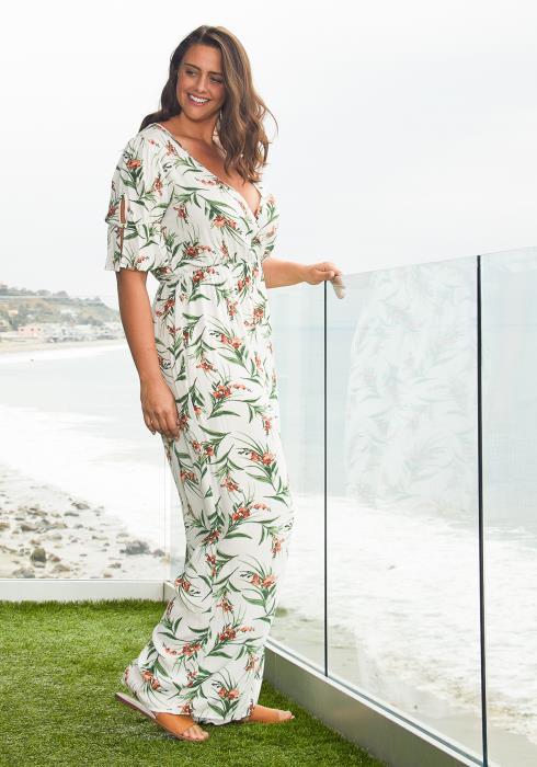 Asoph Plus Size Surplice Floral Jumpsuit