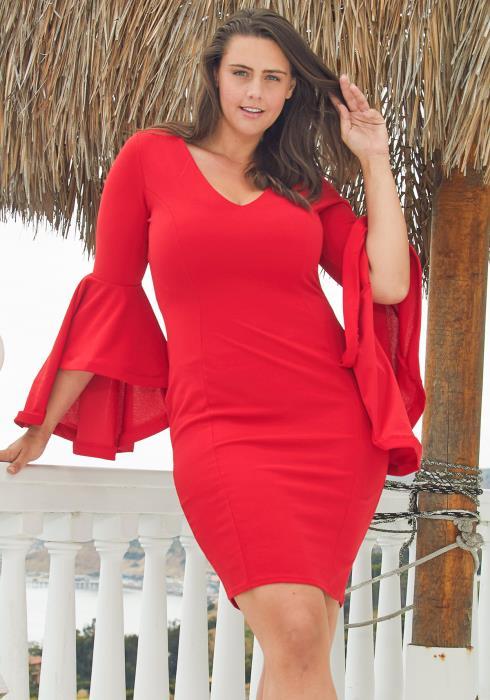 Asoph Plus Size Flounce Sleeve Bodycon Dress