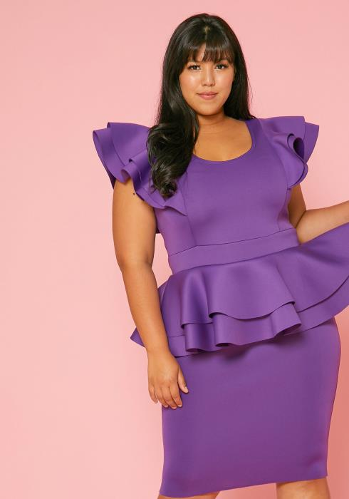 Asoph Plus Size Ruffle Peplum Dress
