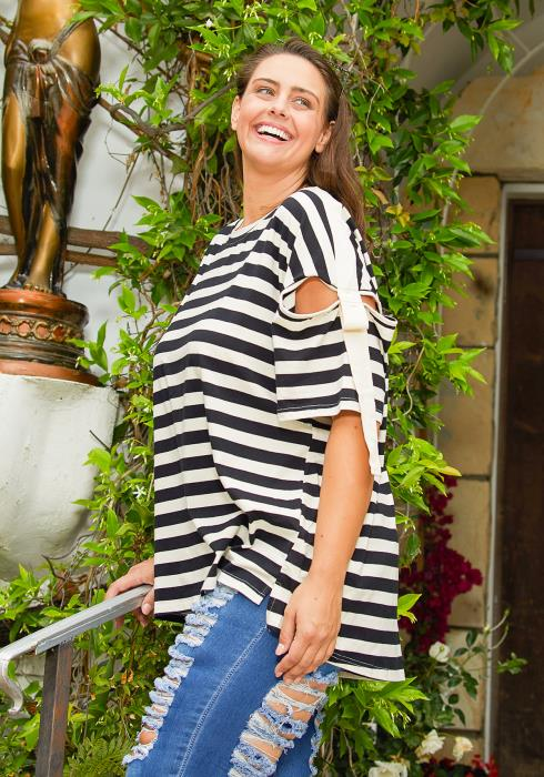 Asoph Plus Size Stripe Tunic Top