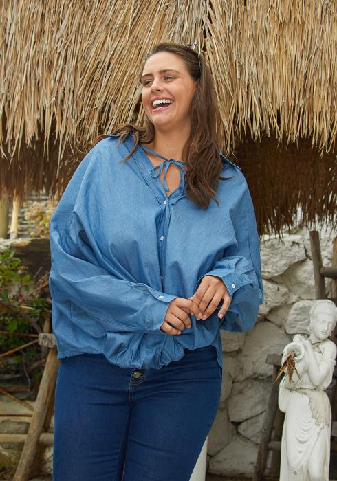 Asoph Plus Size Button Up Denim Blouse