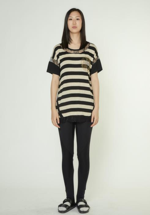 STRIPE TEE WITH LACE DETAIL