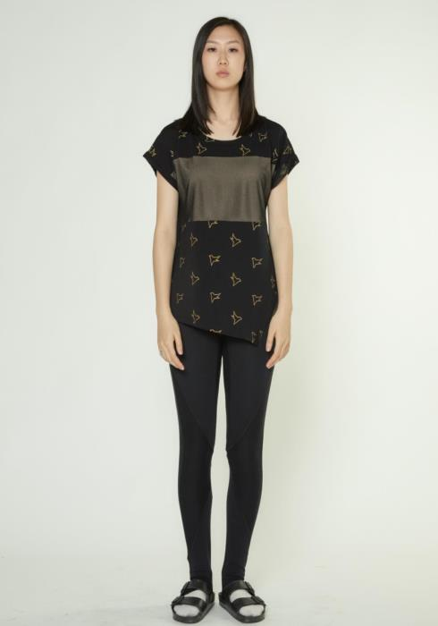 SHORT DOLMAN SLEEVE TEE WITH MESH DETAILS