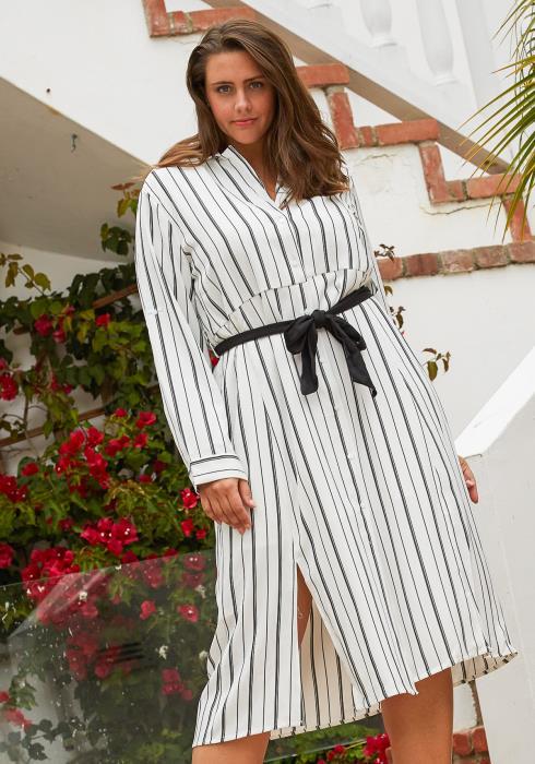 Asoph Plus Size Stripe Button Up Midi Dress