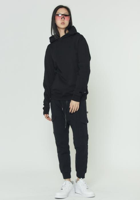 MENS PULL OVER HOODIE WITH SCREEN PRINT BACK
