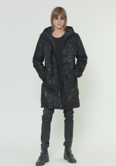 HOODED DUCK DOWN PARKA IN SUEDE
