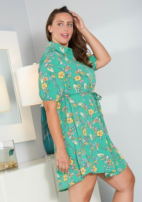 Asoph Plus Size Floral Mini Shirt Dress