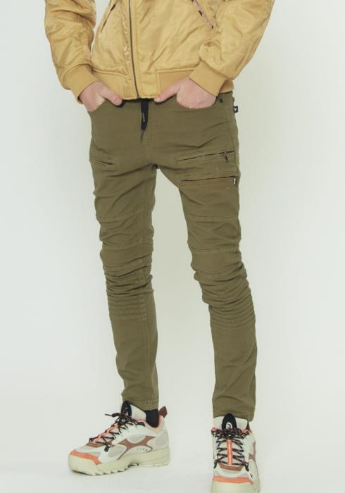 MULTI ZIPPER POCKET PANTS WITH PIN TUCK DETAIL