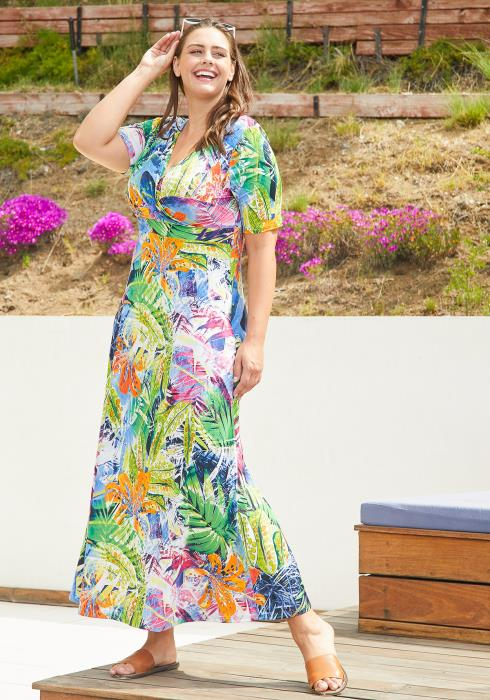 Asoph Plus Size Tropical Print Maxi Dress
