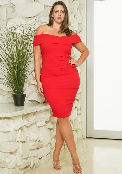 608fdbe463a Asoph Plus Size Off Shoulder Midi Dress