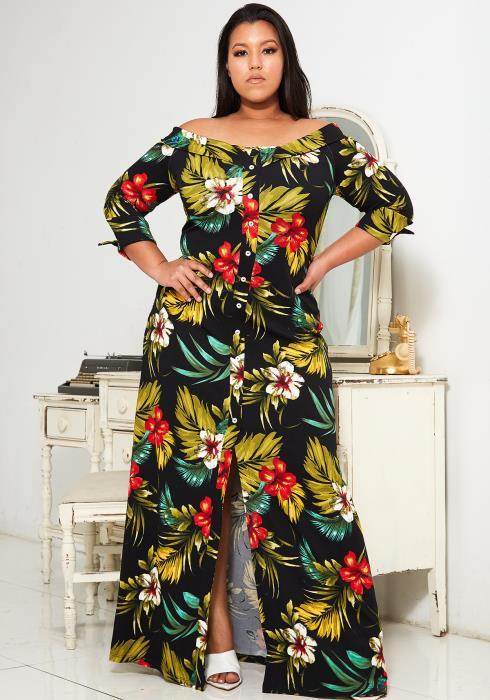 Asoph Plus Size Tropical Print Maxi Dress