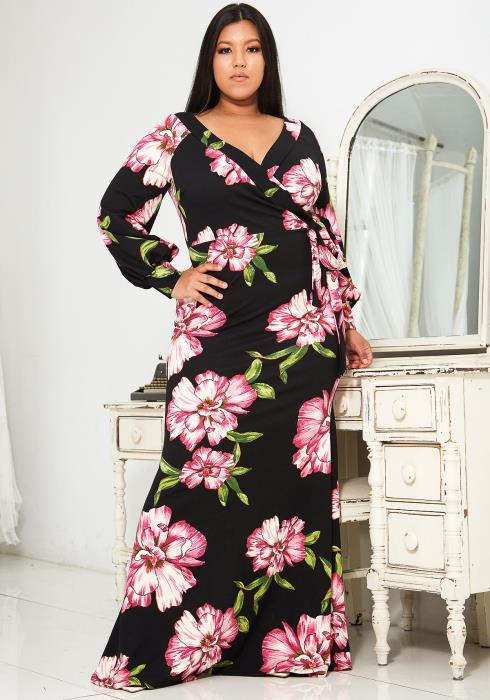 Asoph Plus Size Floral Fitted Maxi Dress
