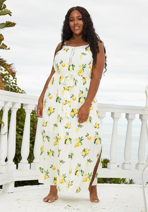 Asoph Plus Size Lemon Print Maxi Dress