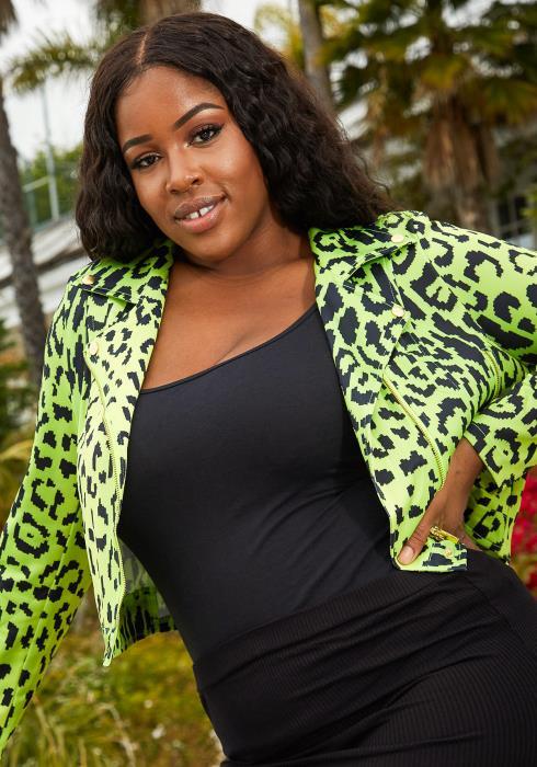 Asoph Plus Size Leopard Print Crop Jacket