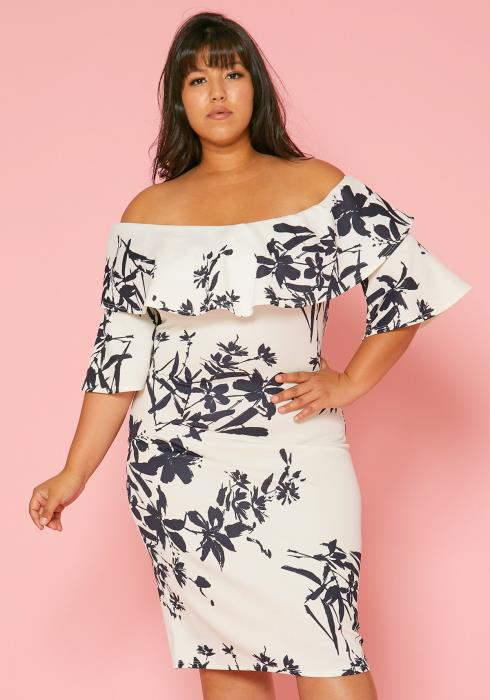 983c043b508c3 Asoph Plus Size Off Shoulder Floral Bodycon Dress