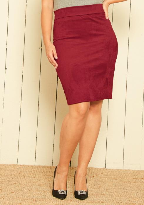 Asoph Plus Size Suede Pencil Skirt
