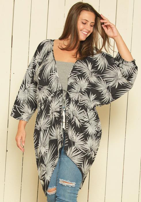 Asoph Plus Size Floral Print Cardigan