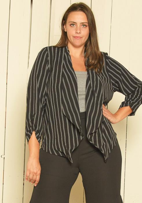 Asoph Plus Size Stripe Open Front Jacket