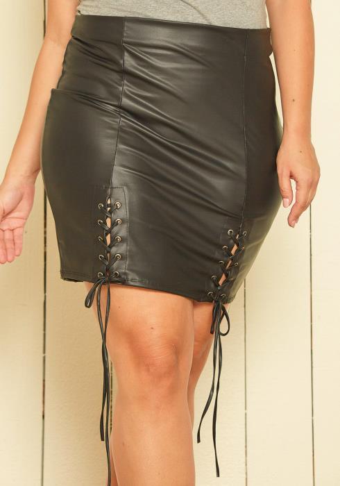 Asoph Plus Size Lace Down Leather Mini Skirt