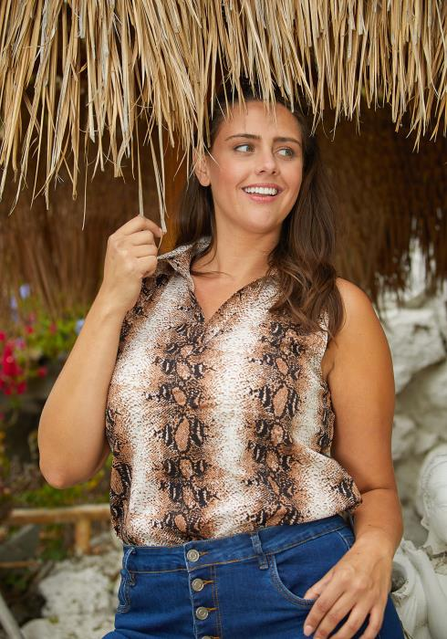 Asoph Plus Size Snake Print Tunic Top