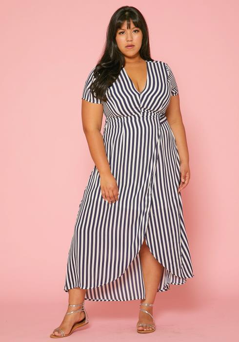 Asoph Plus Size Stripe Wrap Midi Dress