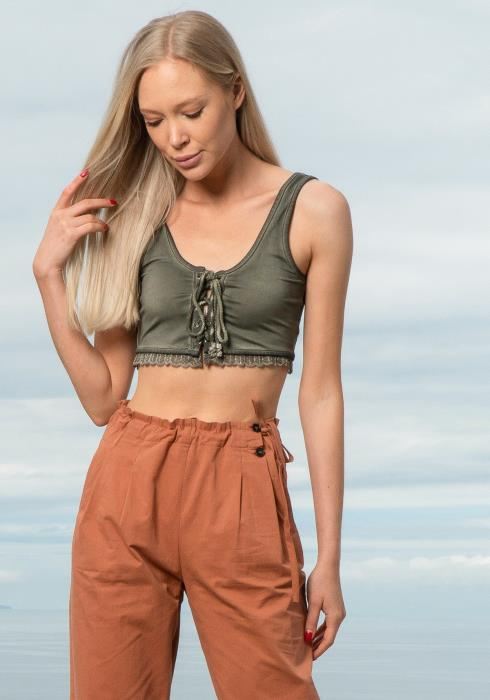 Tansy Lace Up Crop Top