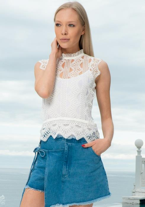 Tansy Sleeveless Mock Neck Lace Top