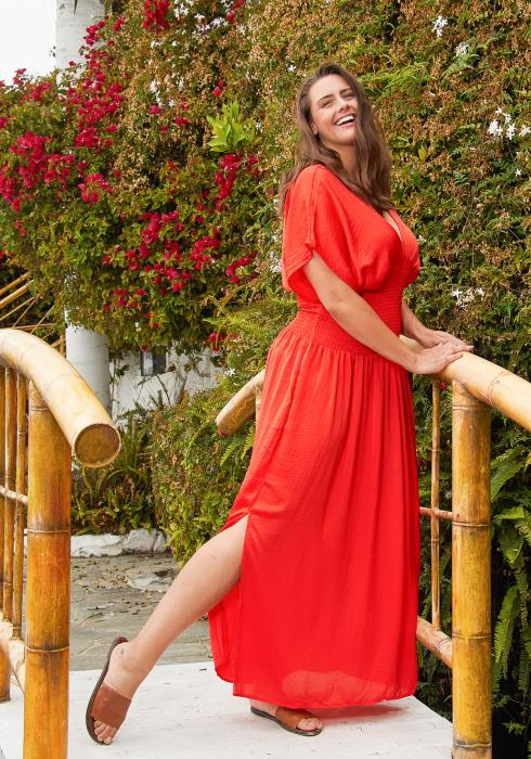 Asoph Plus Size Smocked Maxi Dress