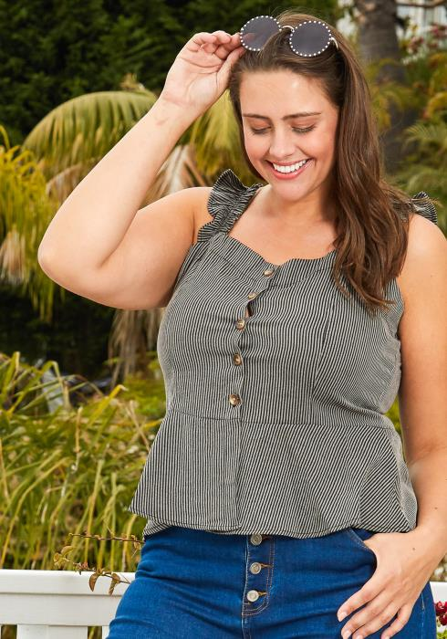Asoph Plus Size Stripe Smocked Peplum Top