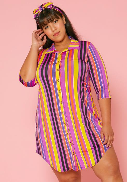 Asoph Plus Size Multi Color Stripe Mini Shirt Dress