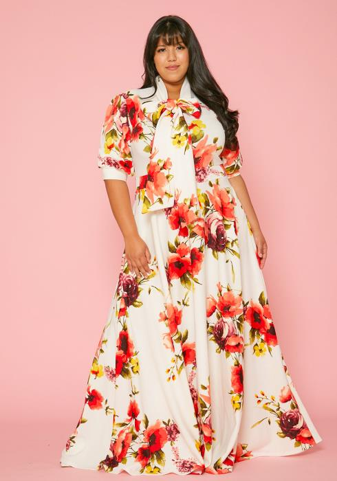 Asoph Plus Size Floral Print Flare Maxi Dress